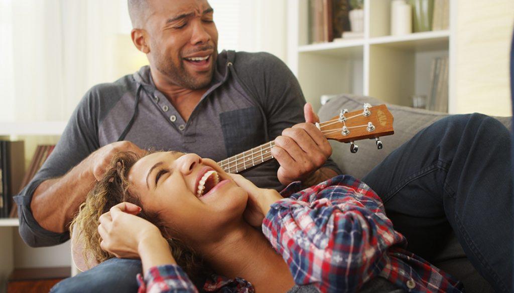 Couple monogamy having fun with ukulele not monotony