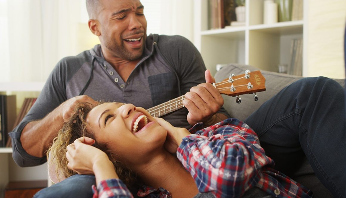 Couple monogamy having fun with ukulele not monotony